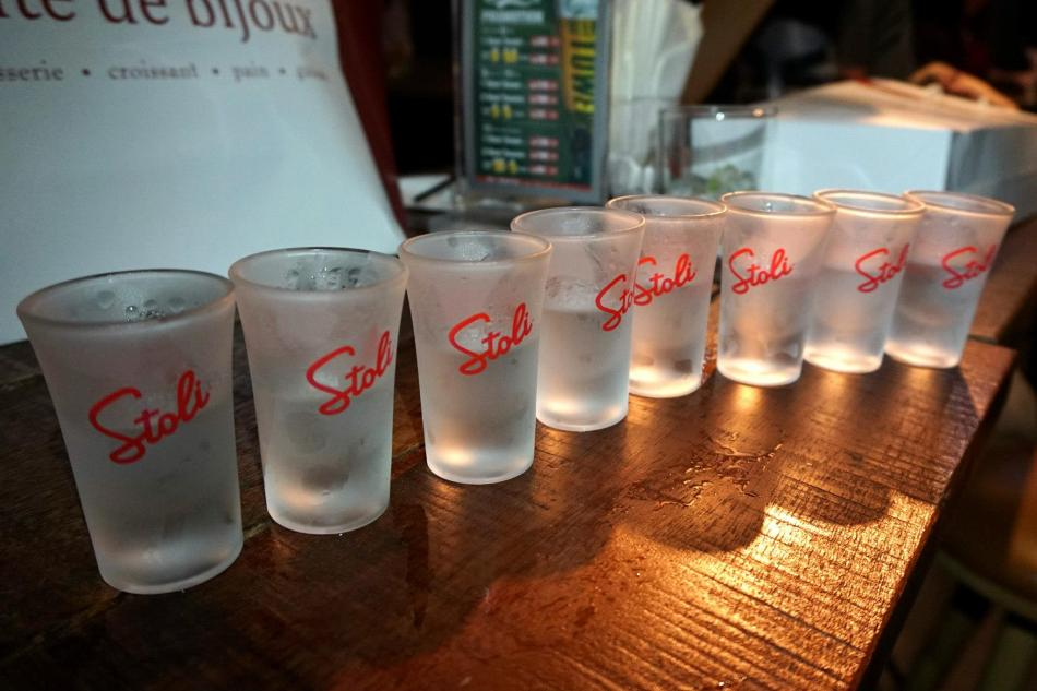 We had shots of all the different Stoli variants that night!