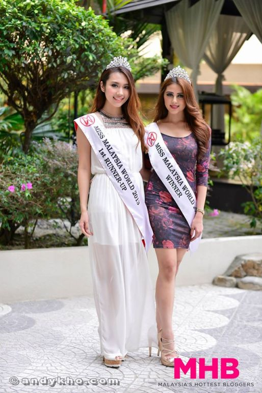 Melinder Bhullar (right) was the winner of Miss World Malaysia 2013 while L'Oreal Mok (left) was the first runner-up