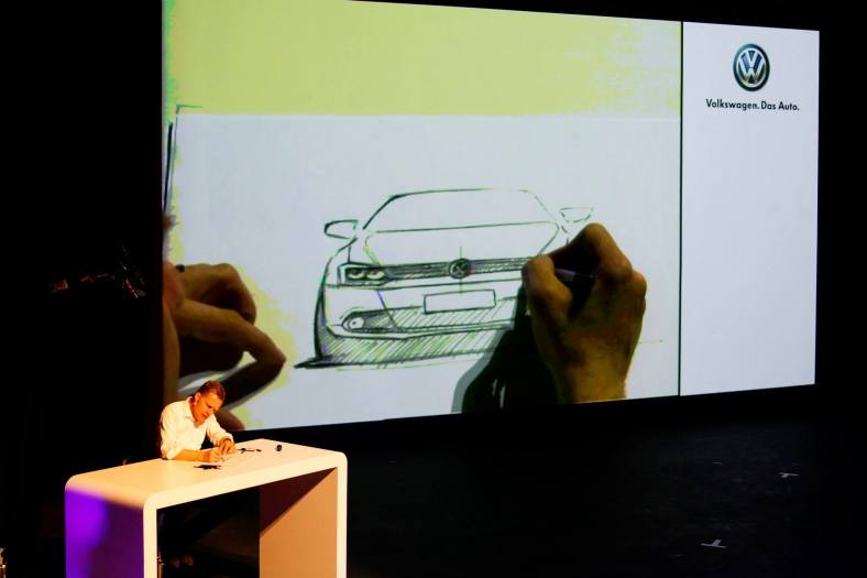 We were then treated to a live sketch of the design of the car