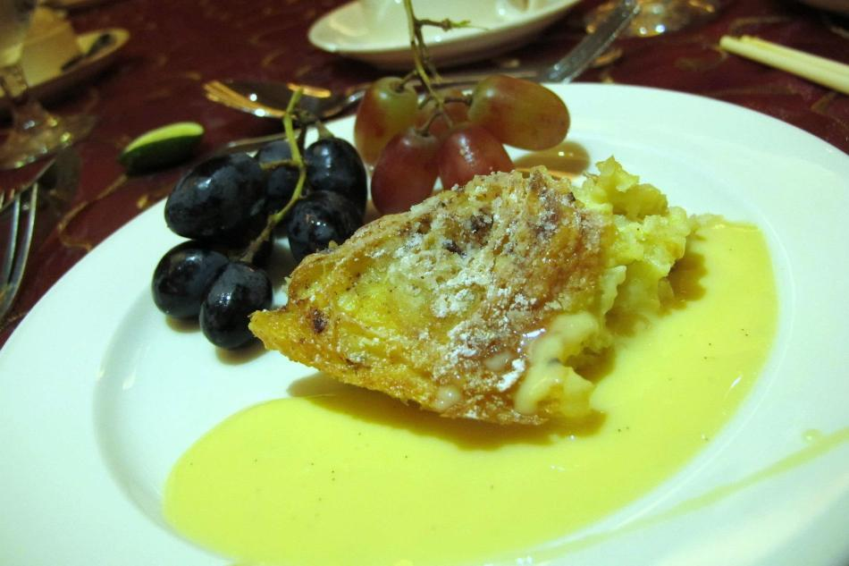 Try out their bread pudding which is quite light and fluffy. I added some grapes to the plate for some added colour.
