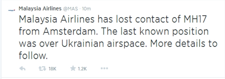 MAS Reports Lost Contact with MH17