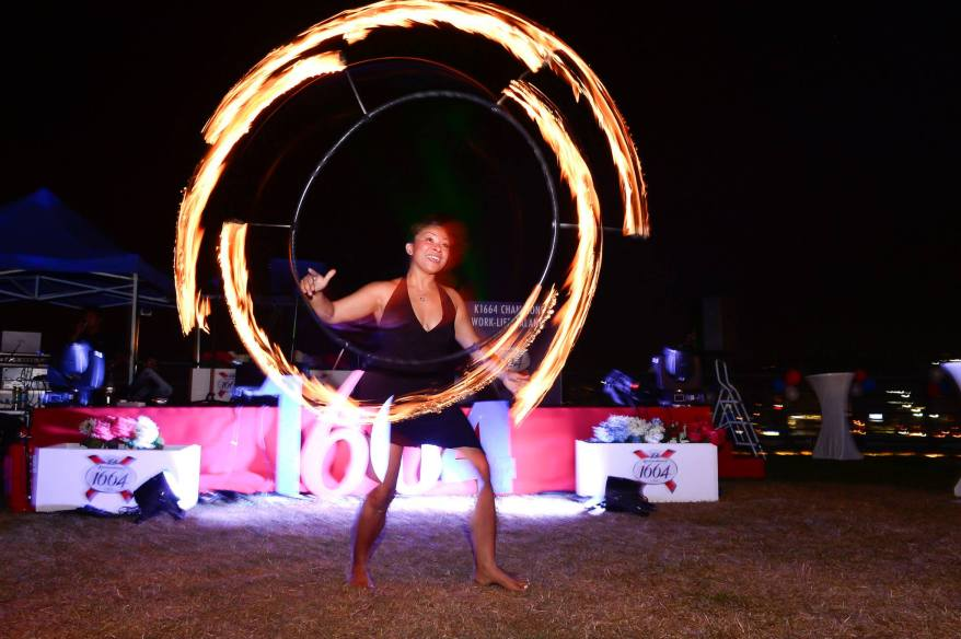 A poi fire dancer enthralled the crowd