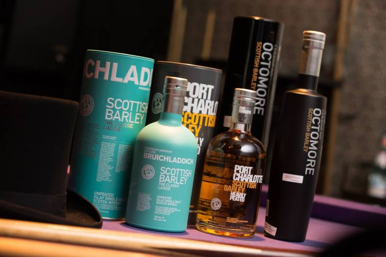 Bruichladdich The Classic Laddie, Port Charlotte and Octomore 6.1 (L-R)