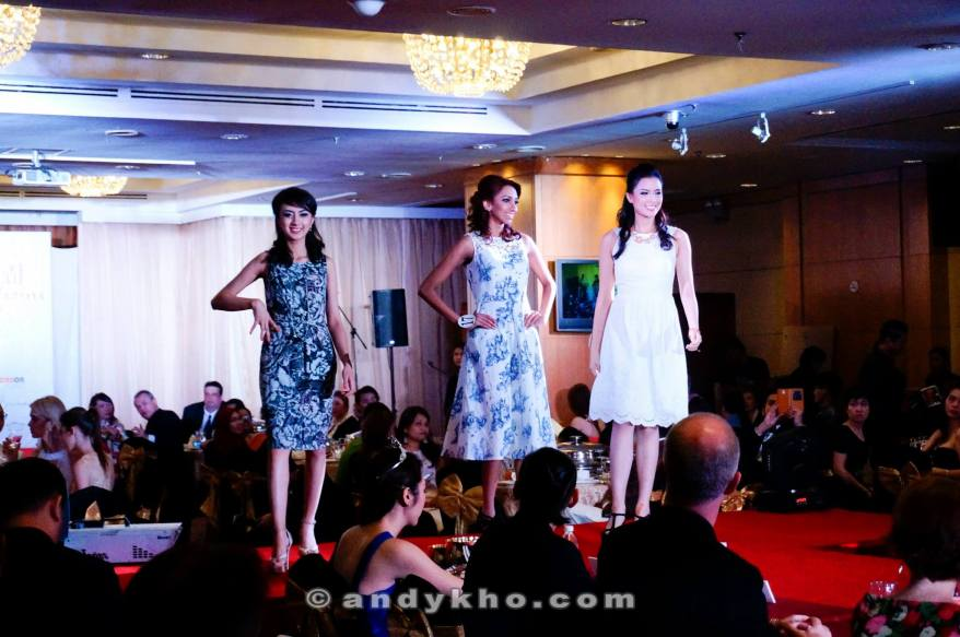 The finalists taking to the catwalk in Laura Ashley outfits