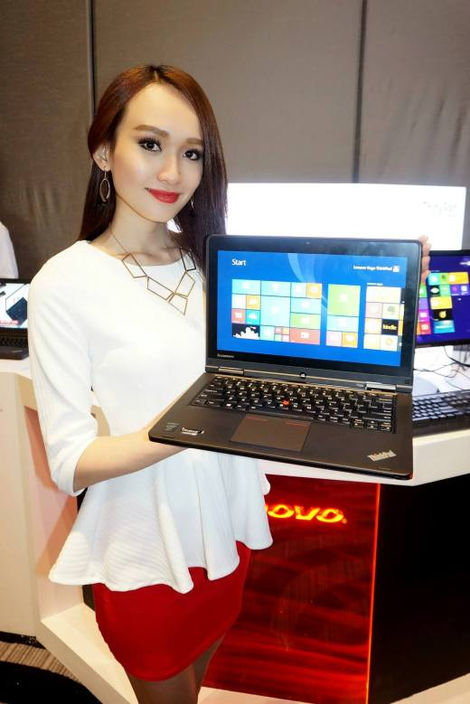 At the launch of Lenovo's latest laptops
