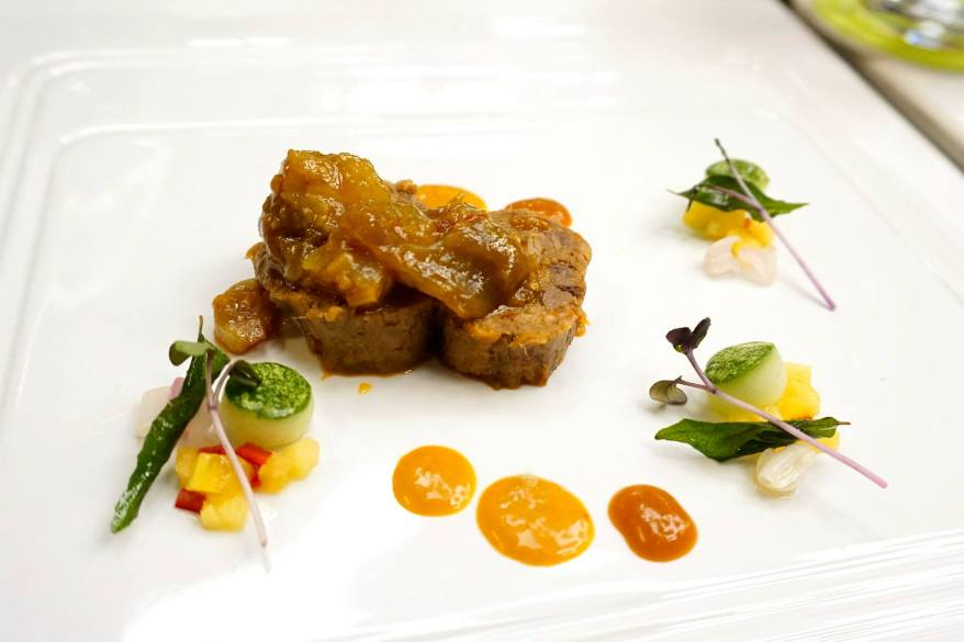 12 hours Sous-Vide Sambal Beef Tongue and Tendon served with Percik Sauce and Achar Crudité
