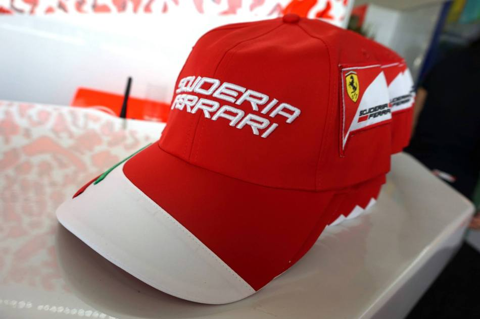 Ferrari merchandise for all guests including caps and bags!