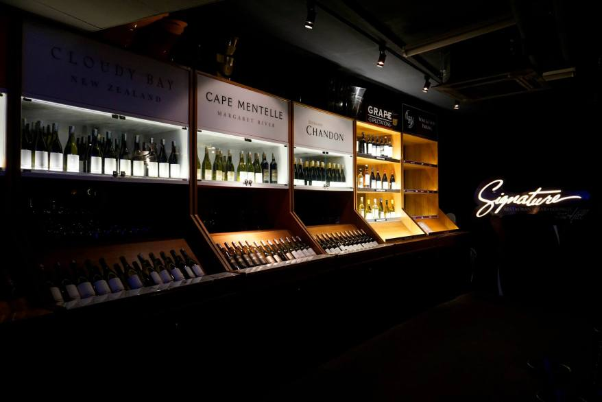 There's ample choice of wines and champagnes
