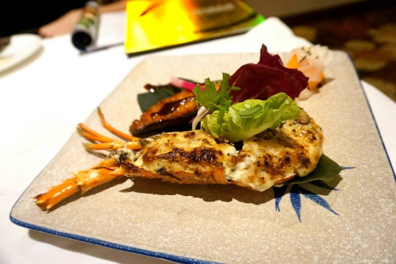 Grillled lobster with homemade cream gratin accompanied with grilled marinated cod & miso
