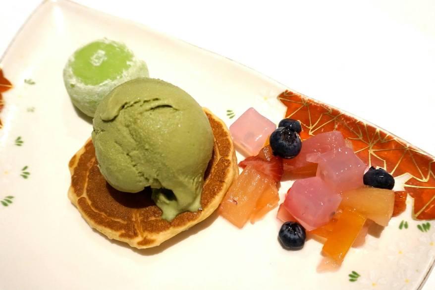 Green tea ce cream pancake and selection of mochi