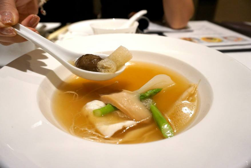 Ginseng, white & summer greens, fish maw consommé
