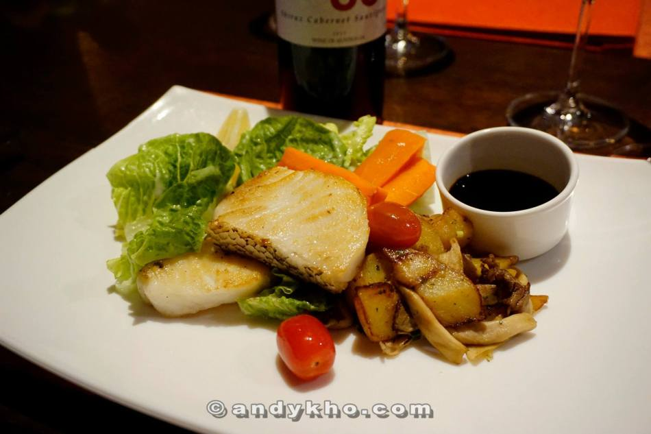 Cod -Grilled cod fillet served with sauteed potatoes, salad, lemon soy sauce - RM56.00