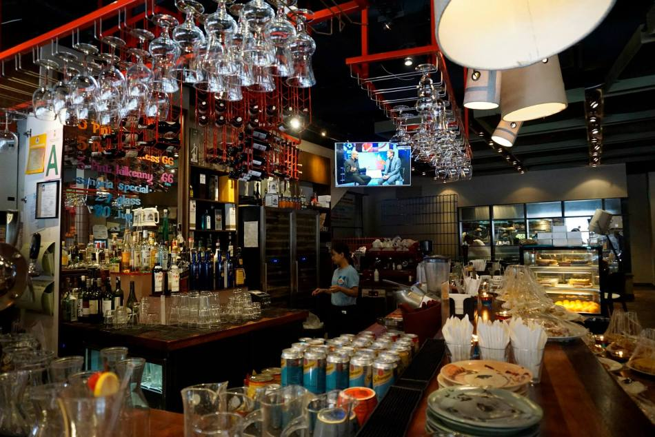 The well stocked bar which carries everything from draught beers to wine and liquor