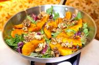 Roasted pumpkin with baby spinach and walnut