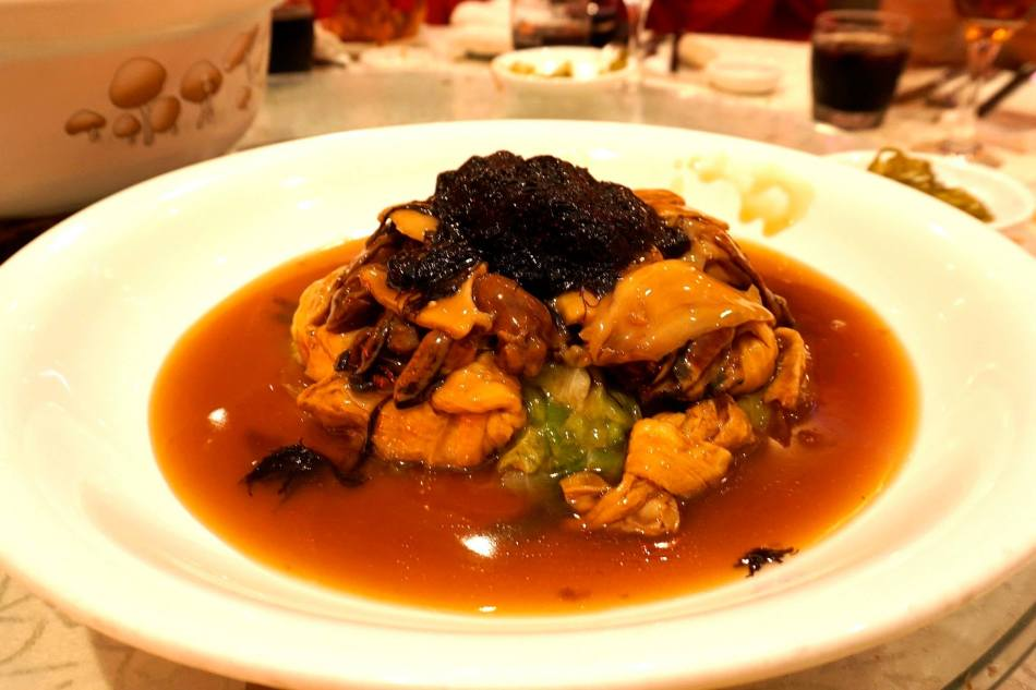 Braised Sliced Abalone with Black Moss and Dried Oyster