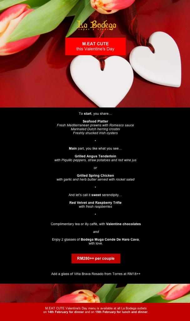 la bodega valentine's day menu