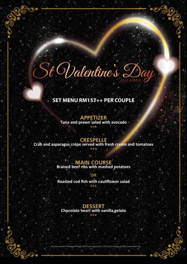M Marini Caffe Valentine's Day 2015 Menu