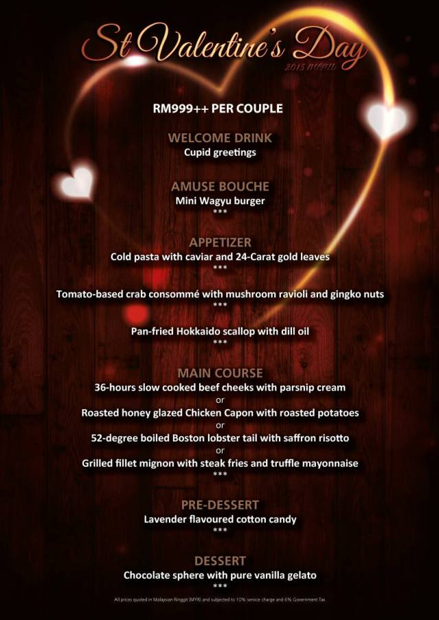 Marble 8 Valentine's Day 2015 Menu