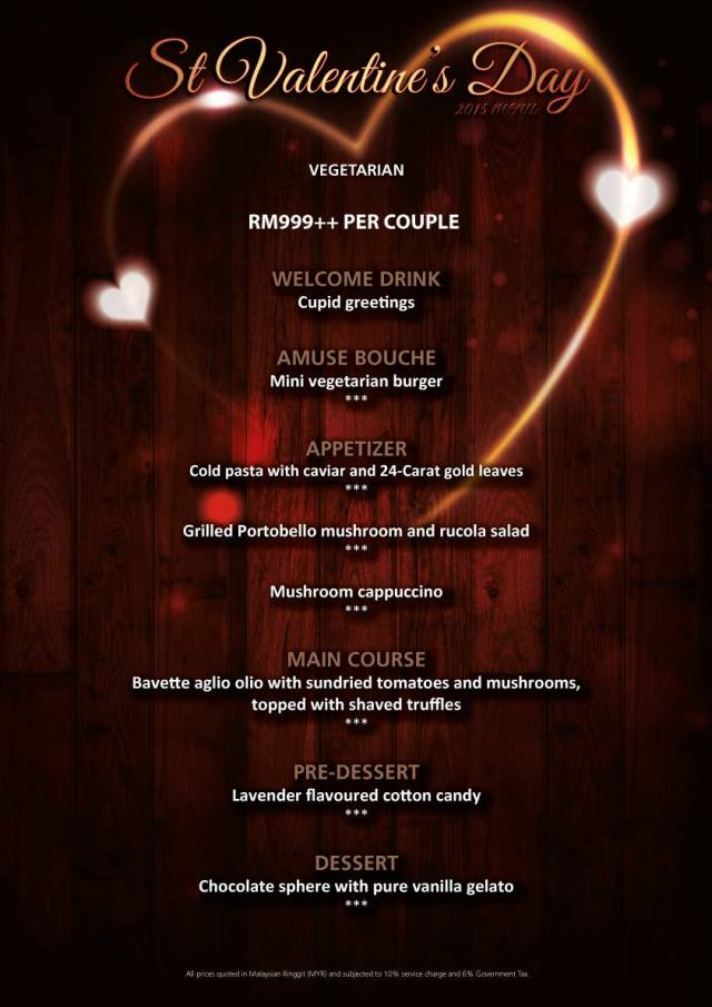 Marble 8 Valentine's Day 2015 Vegetarian Menu
