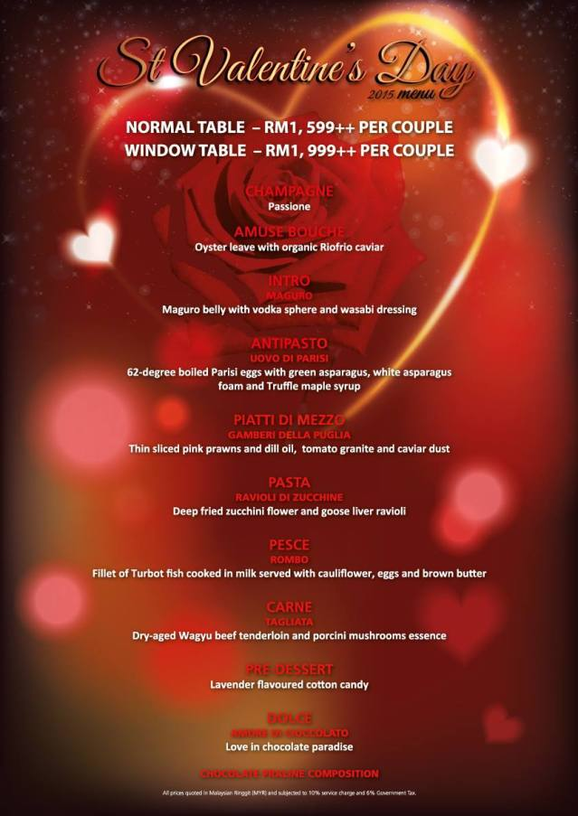 Marini's on 57 Valentine's Day 2015 menu
