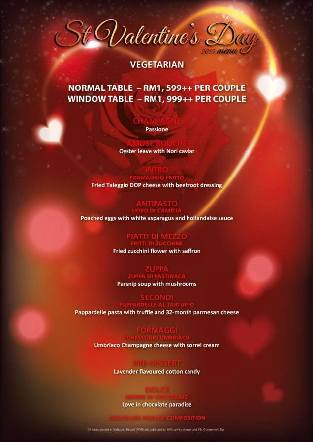 Marini's on 57 Valentine's Day 2015 Vegetarian Menu