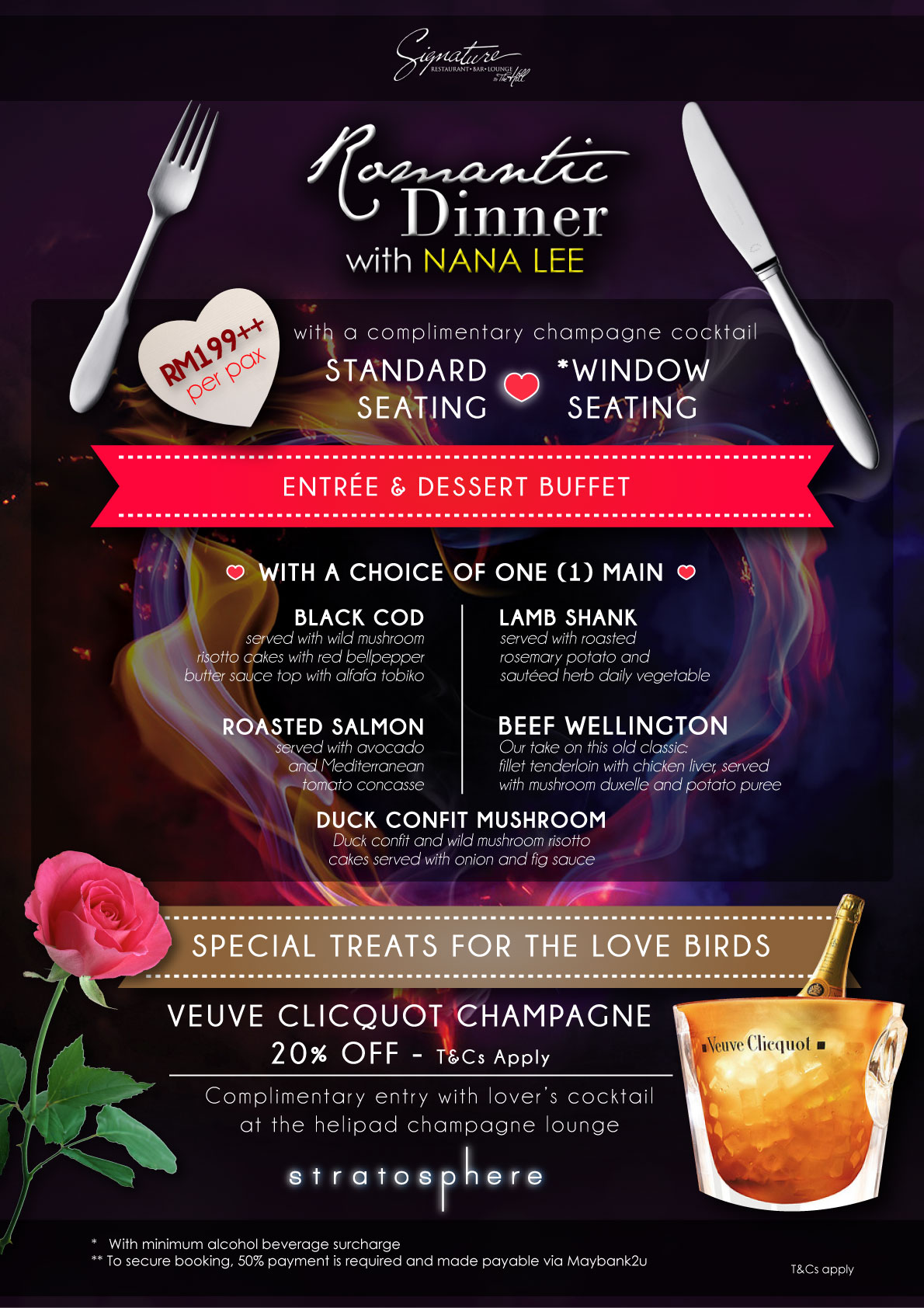 Valentine S Day Menu Signature By The Hill The Roof