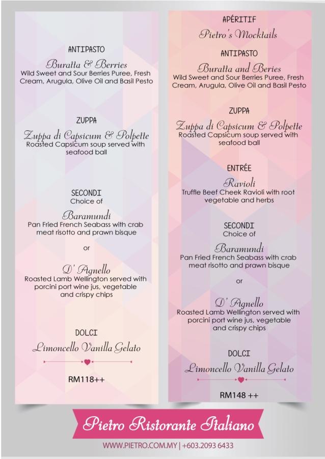 Pietro's Valentine's Day Menu