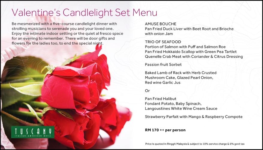 Valentine's Day menu at Tuscany, Putrajaya Marriot