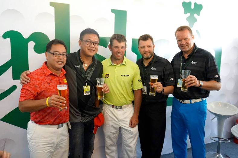 Lee Westwood who was last year's winner came by to visit the lounge