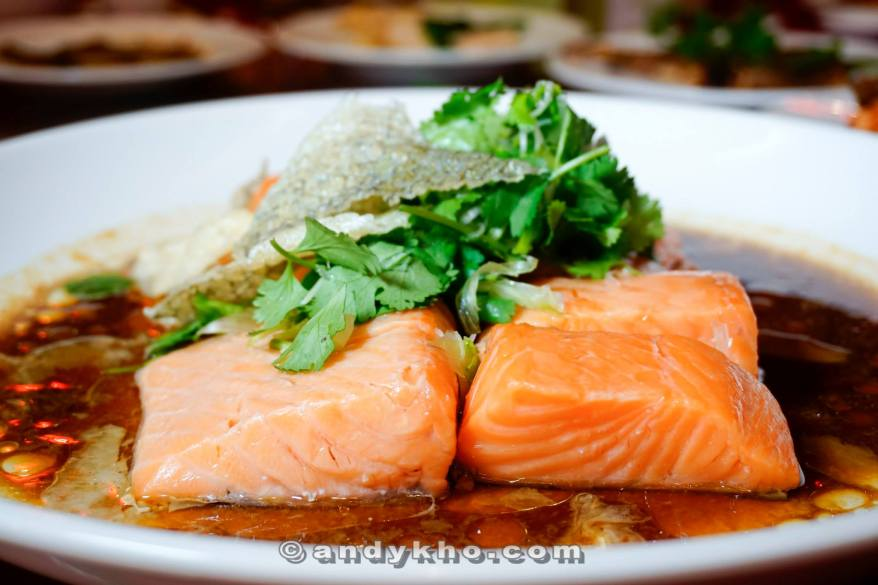 "Steamed Salmon Fish with ""Virgin Soya Sauce"""