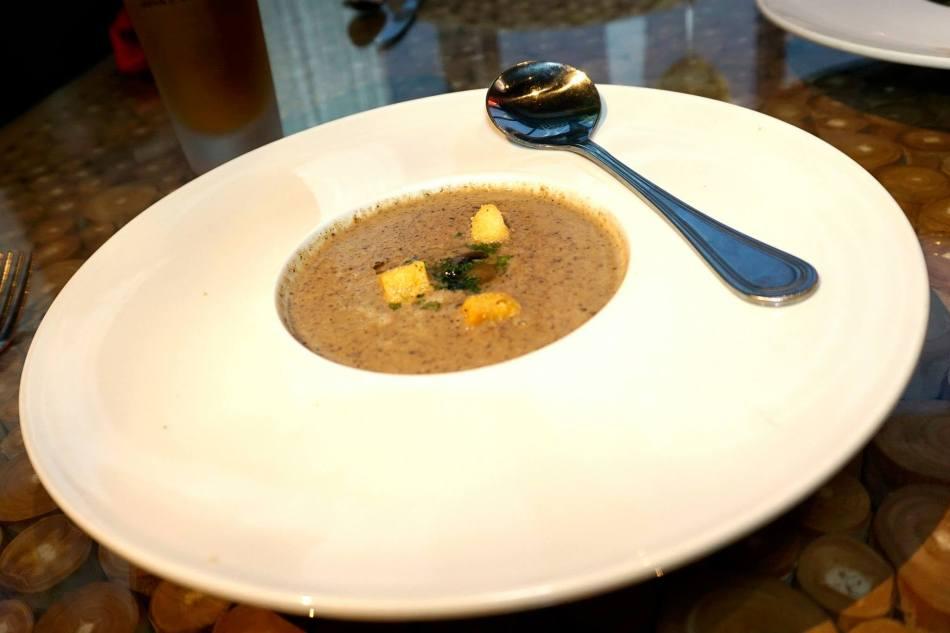 Signature Mushroom Soup – with truffle oil, sautéed chanterelle mushrooms, blended trio of wild mushrooms, and creme.