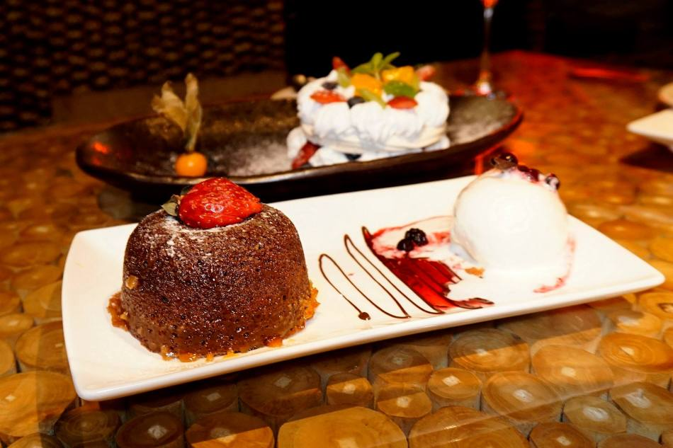 Spicy Chocolate Lava – chilli chocolate lava cake served with Kahlua infused mascarpone, berries compote