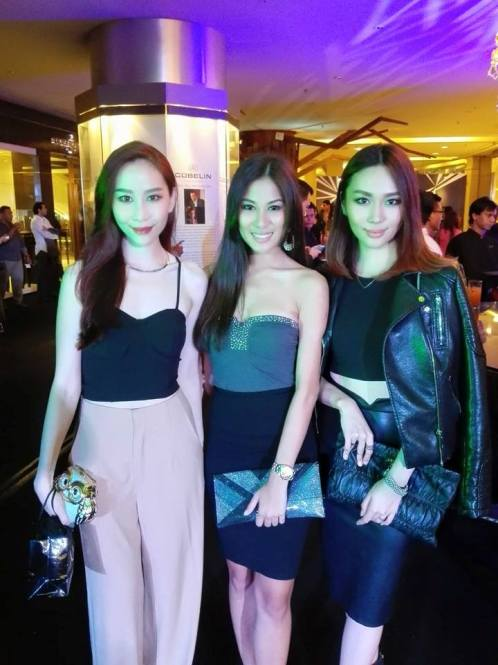 Model Evelyn Marieta, Miss World Malaysia 2012 Lee Yvonne, and model L'oreal Mok (L-R)