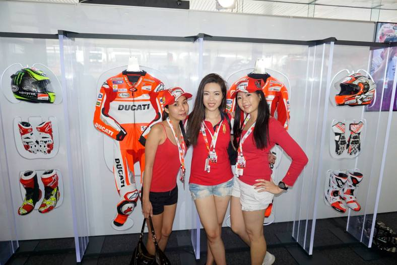 The lounge was stylishly decked out and had a wall displaying the racing outfits of the riders