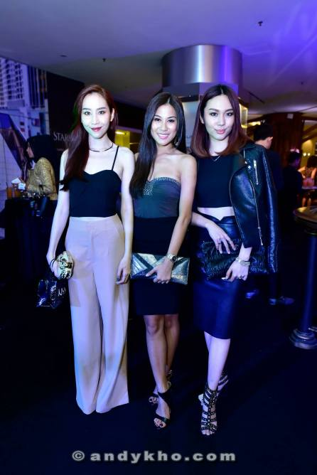 Models Evelyn Marieta (L) and L'Oreal Mok (R) with Miss World Malaysia 2012 Lee Yvonne (middle)