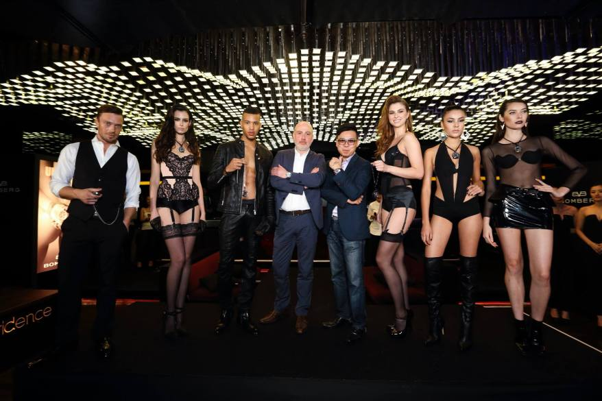 BOMBERG CEO Giancarlo Mantuano with the models