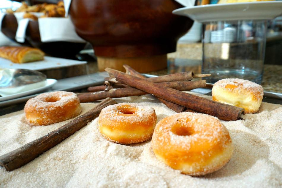 Freshly made donuts. Notice how they are not a lot of food on display as the chefs made a little at a time to keep the food fresh!