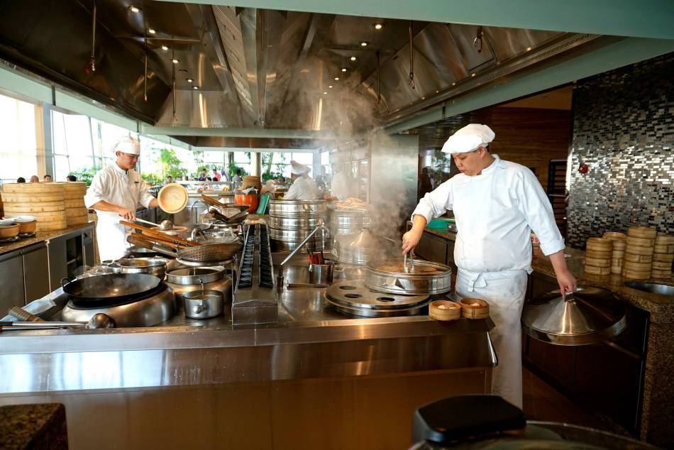 The restaurant encompasses almost the entire floor and the buffet line is divided into three main sections - local, Western and everything else