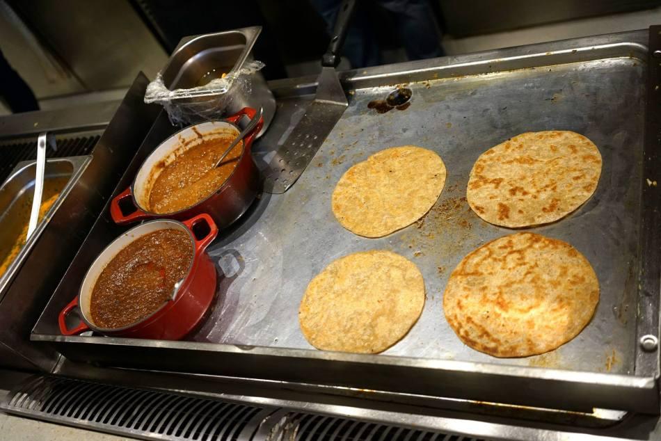 Freshly prepared roti canai and murtabak