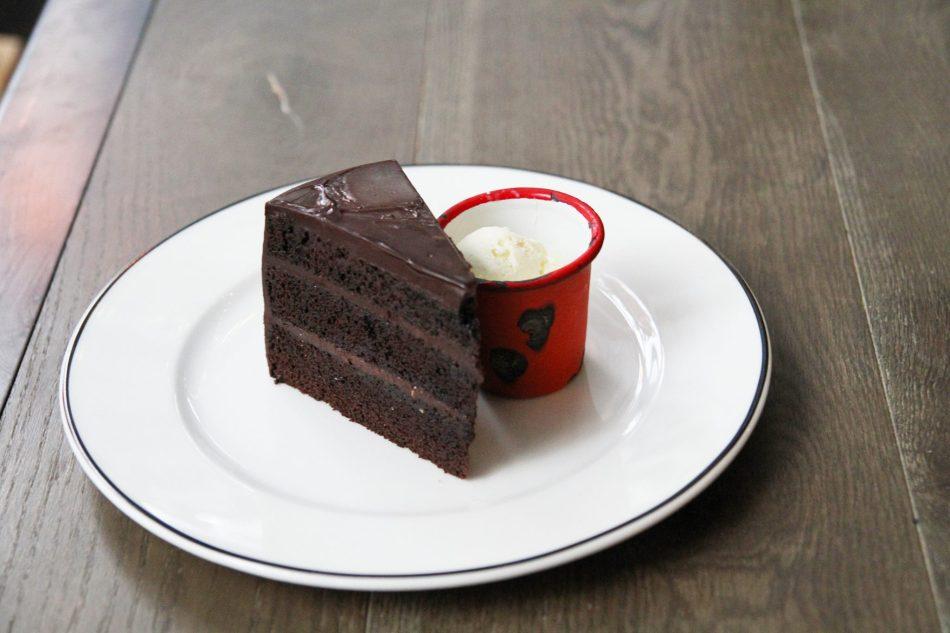 Raspberry Chocolate Cake served with Vanilla Ice Cream