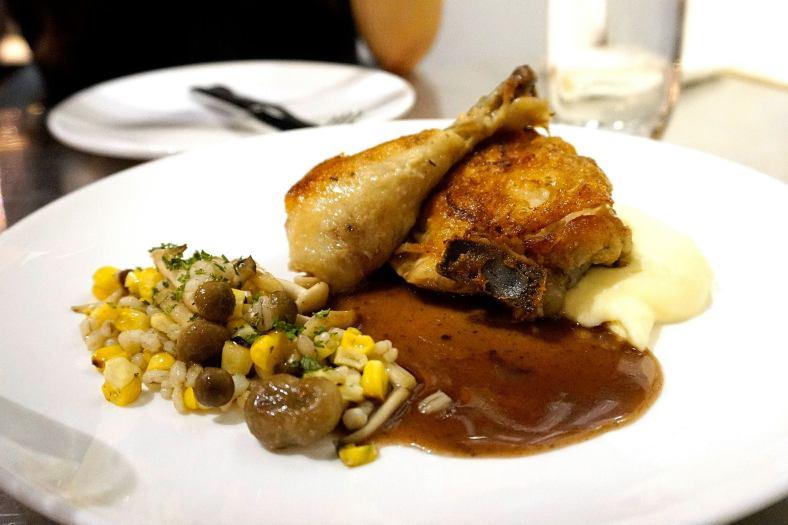 Chicken Confit - corn, mushroom, potato puree and chicken jus - RM32.00