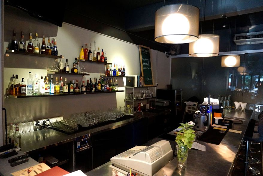 The well stocked bar which has everything from beers to wines to cocktails