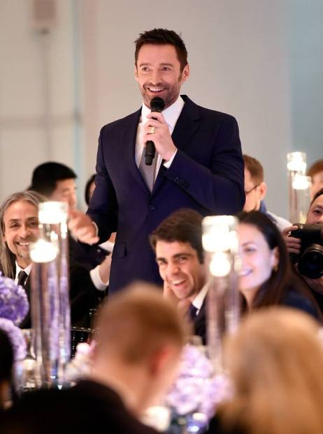 Montblanc brand ambassador Hugh Jackman welcoming the guests