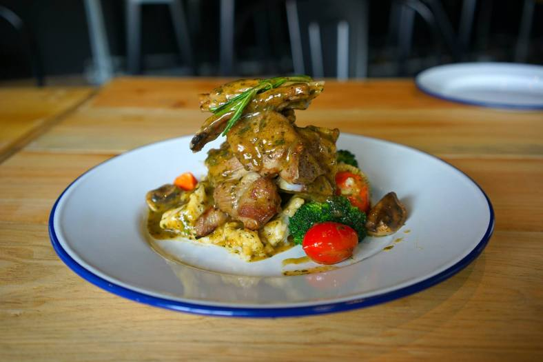 Grilled Lamb Shoulder served with fried mushrooms, mixed vegetables & garlic mashed potatoes - RM30.00