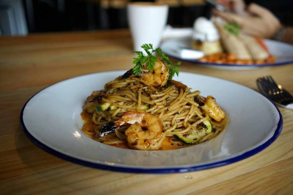 Spicy Aglio Olio with shrimps & zucchini - RM22.00