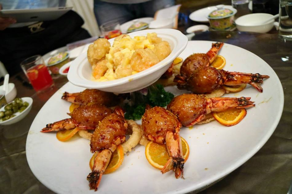 Stuffed Prawn with palm Sugar and Fresh Orange - RM38++, Fried Prawn with Pineapple and Jackfruit sauce - RM43.00++