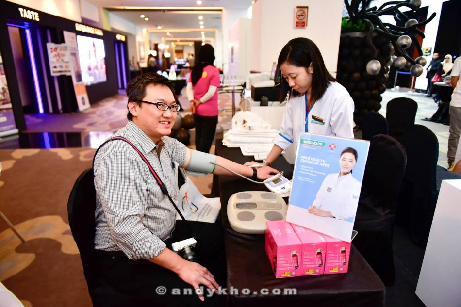 free health checkup for members which includes blood pressure, body mass index (BMI) and visceral fat screening