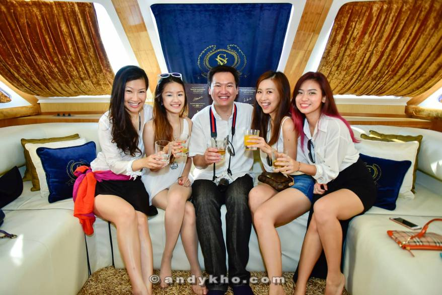 Enjoying our drinks in the lounge in the yacht