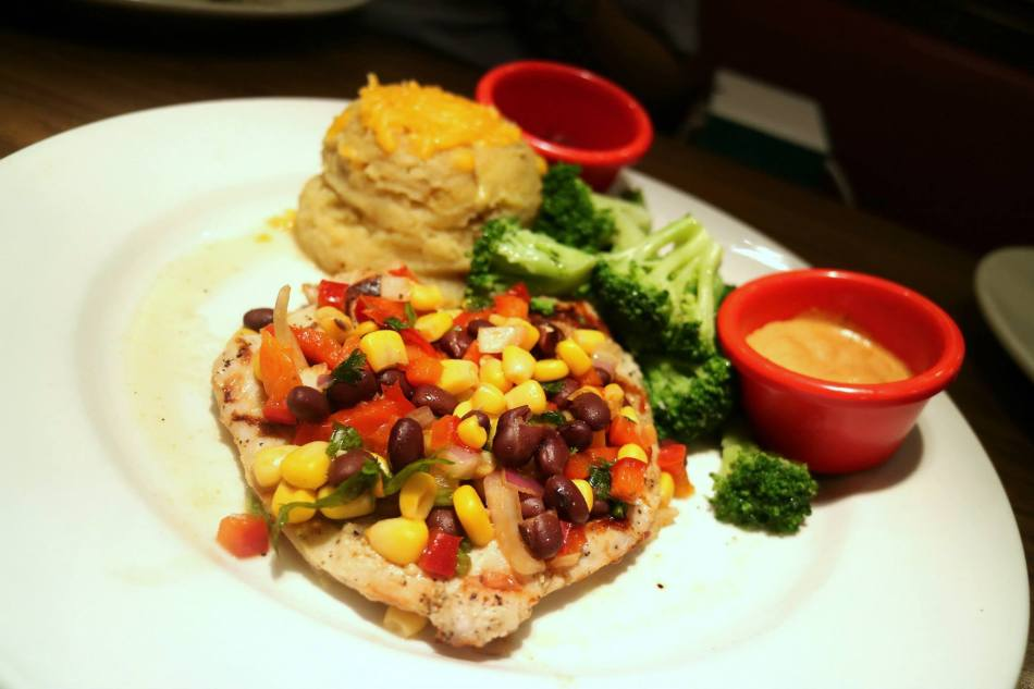 Chicken Aioli (from the RM100.00 menu) - Grilled chicken topped with fresh corn and black bean salsa, with a side of chipotle aioli sauce, and served with seasonal vegetables and mashed potatoes with black pepper gravy.