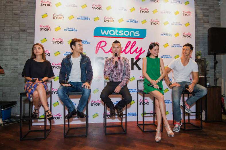 Danny Hoh, Head of Marketing, Watsons Malaysia and Watsons Celebrity Friends Reem Shahwa, Kit Mah, Amber Chia and Hansen Lee